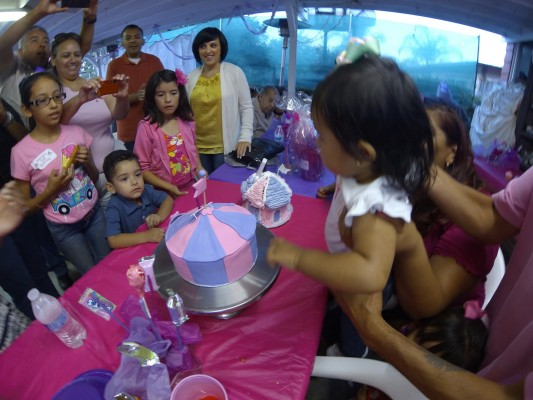 1 year old Xemma blows out a candle on her purple & pink cake!
