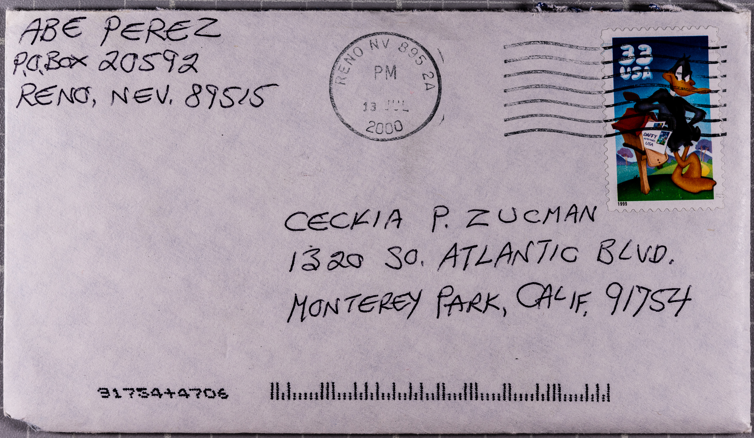 photo of a letter from Abe Perez (Reno, Nevada) to Cecilia P. Zucman (Monterey Park, CA) postmarked 13 July 2000.