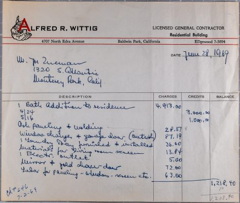 contractor's receipt from Alfred R. Wittig, Licensed General Contractor, dated June 28, 1969