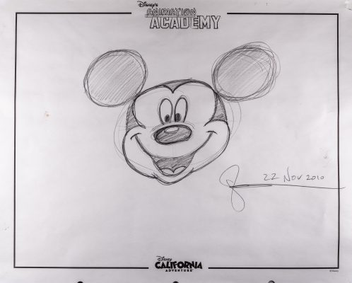 character drawing of Mickey Mouse's head by Glenn