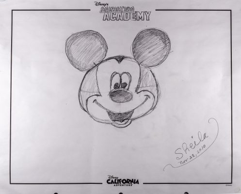 character drawing of Mickey Mouse's head by Sheila Zucman